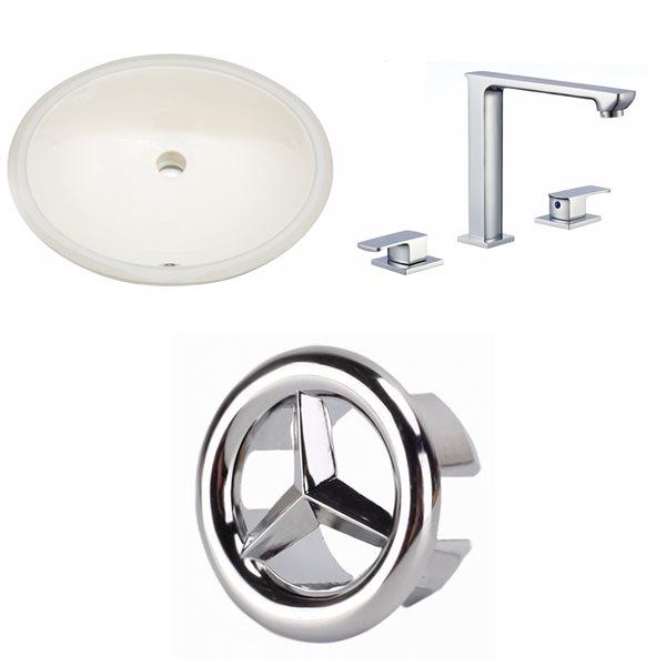 Lavabo ovale sous-comptoir en céramique et drain pour trop-plein/robinet d'American Imaginations, 16,25 po x 19,5 po, biscuit