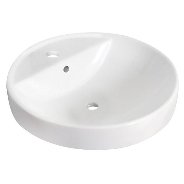 Lavabo rond encastré et robinet/drain pour trop-plein d'American Imaginations, 18,25 po x 18,25 po, céramique blanche