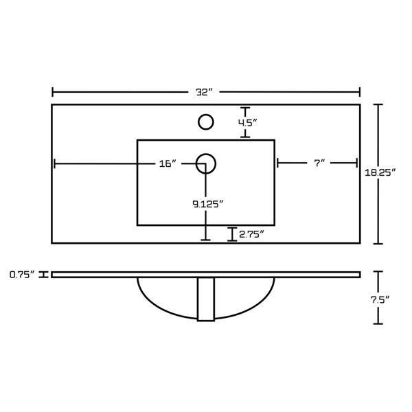 Comptoir simple en céramique Roxy par American Imaginations, 32 po, blanc/nickel brossé