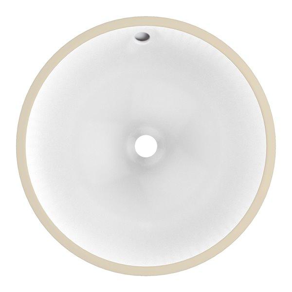 Lavabo rond sous-comptoir en céramique et drain pour trop-plein d'American Imaginations, 17 po x 17 po, blanc