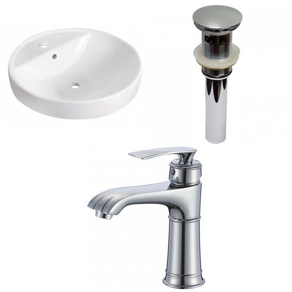 Lavabo encastré rond et robinet/drain pour trop-plein d'American Imaginations, 18,25 po x 18,25 po, céramique blanche