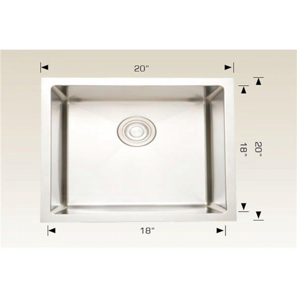 Cuve à lessive simple sous-comptoir avec drain en acier inoxydable d'American Imaginations, 20 po x 20 po