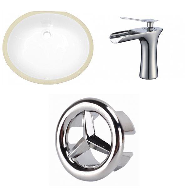 Lavabo sous-comptoir en céramique et robinet/drain pour trop-plein d'American Imaginations, 16,25 po x 19,5 po, blanc