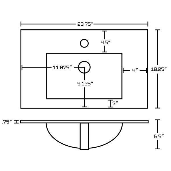 Comptoir simple moderne en argile réfractaire/émail Flair par American Imaginations, 23,75 po, blanc