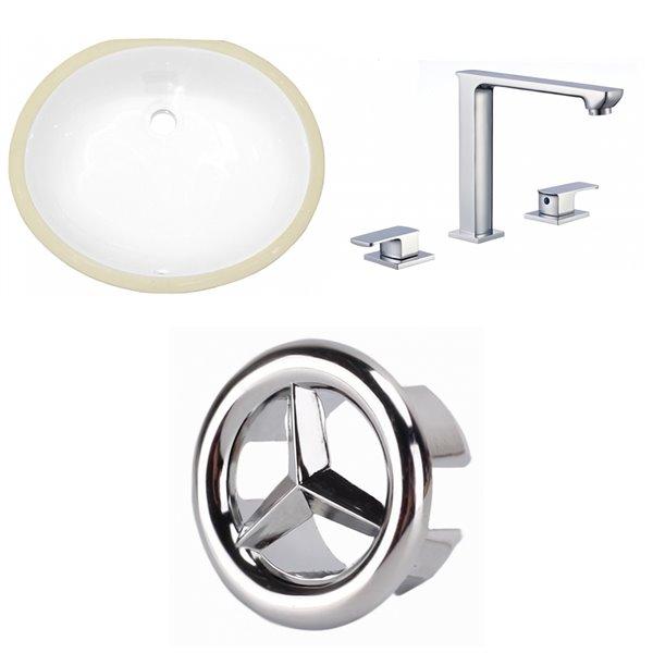 Lavabo ovale sous-comptoir et drain pour trop-plein/robinet d'American Imaginations, 16,25 po x 19,5 po, céramique blanche