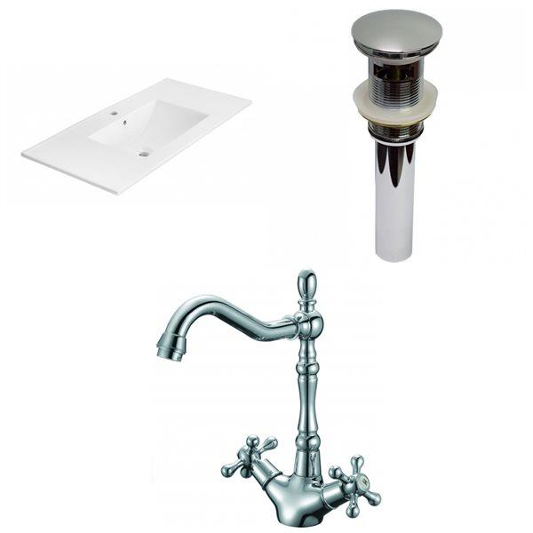 Dessus de meuble-lavabo simple en argile réfractaire/émail Xena d'American Imaginations, 35,5 po, blanc