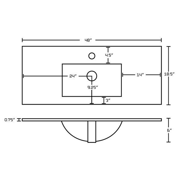 Comptoir simple en argile réfractaire/émail Roxy par American Imaginations, 48 po, blanc