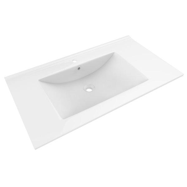 Dessus de meuble-lavabo simple Drake d'American Imaginations en argile réfractaire, blanc et noir, 35,5 po