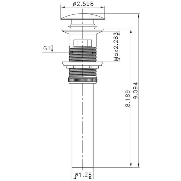 Comptoir simple en argile réfractaire/émail Roxy par American Imaginations, 48 po, blanc/nickel brossé