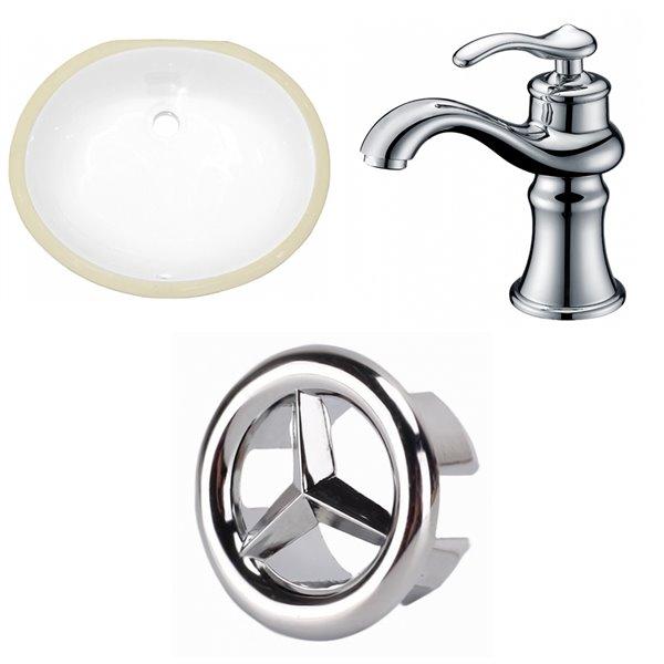 Lavabo ovale sous-comptoir avec drain pour trop-plein et lavabo d'American Imaginations, 16,25 po x19,5 po, céramique blanche