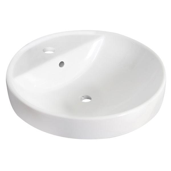 Lavabo encastré rond en céramique et robinet/drain pour trop-plein d'American Imaginations, 18,25 po x 18,25 po, blanc