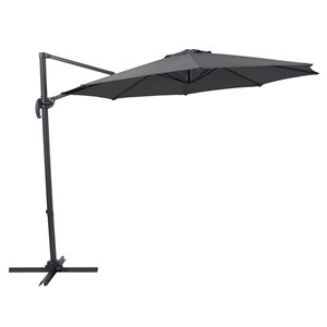 Corliving 9-ft Solid/Grey Offset Patio Umbrella