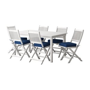 Corliving Miramar 7-piece White Hardwood Frame Patio Dining Set with Navy Blue Cushions Included