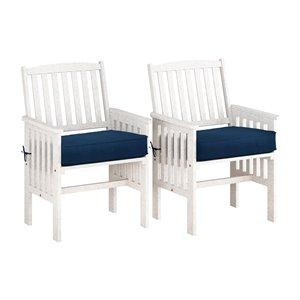Ensemble de fauteuils d'extérieur Miramar en bois massif blanchi de CorLiving, coussins bleu marine, lot de 2