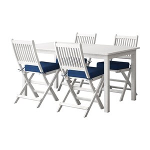 Corliving Miramar 5-piece White Hardwood Frame Patio Dining Set with Navy Blue Cushions Included