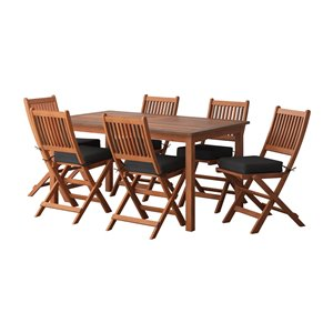 Corliving Miramar 7-piece Brown Hardwood Frame Dining Patio Set with Black Cushions Included