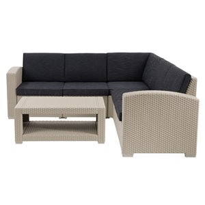 Corliving Lake Front 6-piece Plastic Frame Patio Conversation Set with Cushions Included