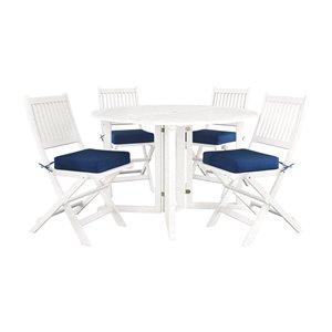 Ensemble de salle à manger pour l'extérieur en bois massif blanc Miramar avec coussin bleu marin inclus par Corliving, lot de