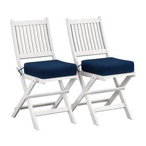 Chaises pliantes d'extérieur Miramar en bois massif blanchi, de CorLiving, coussins bleu marine, lot de 2