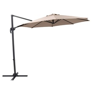 Corliving 9-ft Solid/Taupe Offset Patio Umbrella