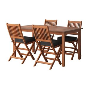 Corliving Miramar 5-piece Brown Hardwood Frame Patio Dining Set with Black Cushions Included