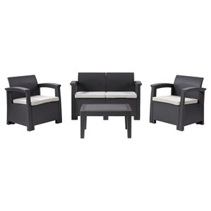 Corliving Lake Front 4-piece Plastic Frame Patio Conversation Set with Cushions Included