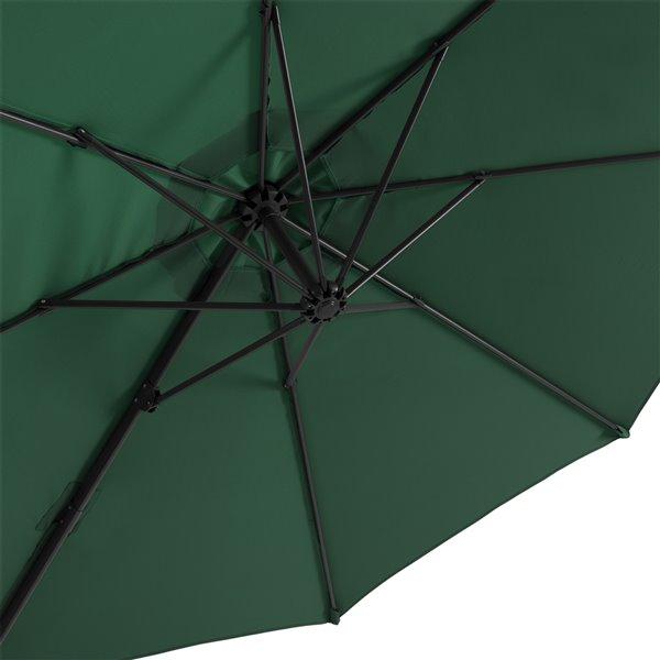 Parasol de patio vert foncé décentré