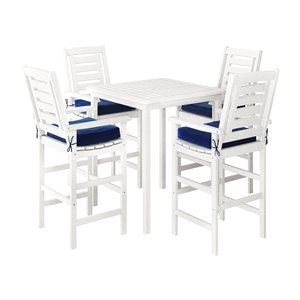 Corliving Miramar 5-piece White Hardwood Frame Bar Height Patio Dining Set with Navy Blue Cushions Included