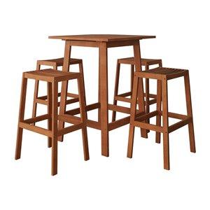 Corliving Miramar 5-piece Brown Hardwood Frame Bistro Patio Dining Set