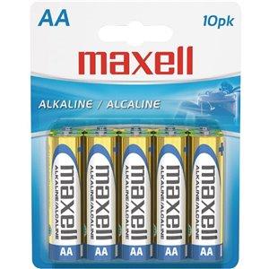 Piles Maxell alcalines AA, paquet de 10