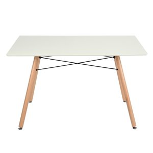 FurnitureR London Rectangular Fixed Standard (30-in H) Table Composite with Oak Wood Base