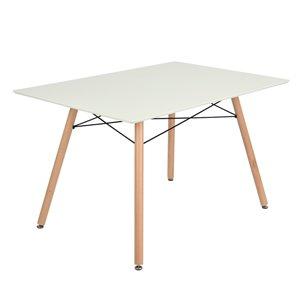 Table de salle à manger rectangulaire fixe London standard (30po H) par FurnitureR, plateau en composite et base en chêne