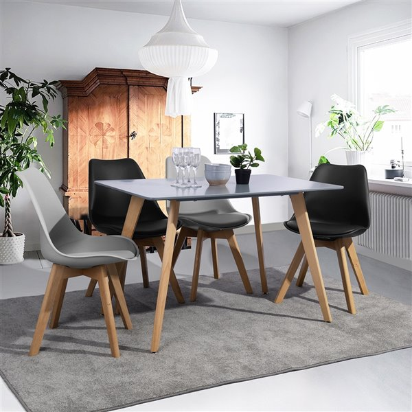 Table de salle à manger rectangulaire fixe Rookie standard (30po) par FurnitureR, plateau en composite et base en bois de ch