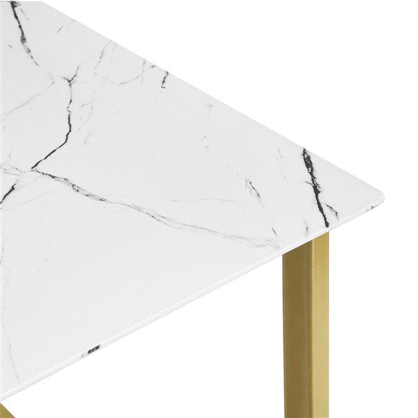Table de salle à manger rectangulaire fixe Slip standard (30po H) par FurnitureR, plateau en composite et base de métal dor