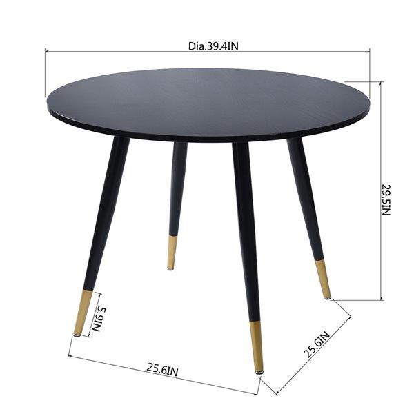 Table de salle à manger ronde fixe Drager standard (30po H) par FurnitureR, plateau en composite et base de métal noir