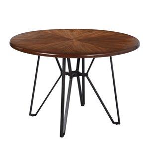 Table de salle à manger ronde fixe Irizo de taille standard (30po H) par FurnitureR, plateau en composite et base de métal n