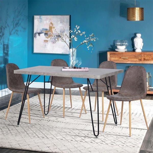 Table de salle à manger rectangulaire fixe Deane standard (30po H) par FurnitureR, plateau en composite et base de métal noi