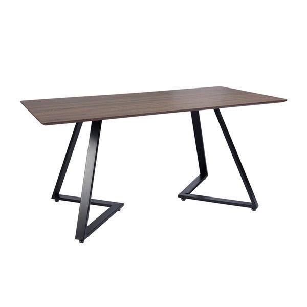 Table de salle à manger rectangulaire fixe Royal standard (30po H) par FurnitureR, plateau en composite et base de métal noi