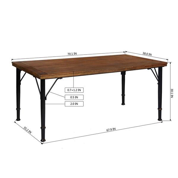 Table de salle à manger rectangulaire fixe Amanda standard (30po H) par FurnitureR, plateau en composite et base de métal no