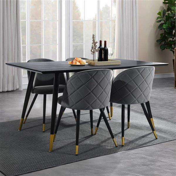 Table de salle à manger rectangulaire fixe Drager standard (30po H) par FurnitureR, plateau en composite et base de métal no