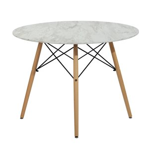FurnitureR Chad Round Fixed Standard (30-in H) Table Composite with Oak Wood Base