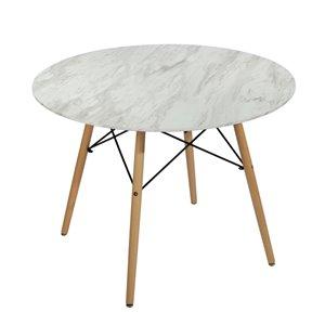 Table de salle à manger ronde fixe Chad de taille standard (30po H) par FurnitureR, plateau en composite et base en chêne