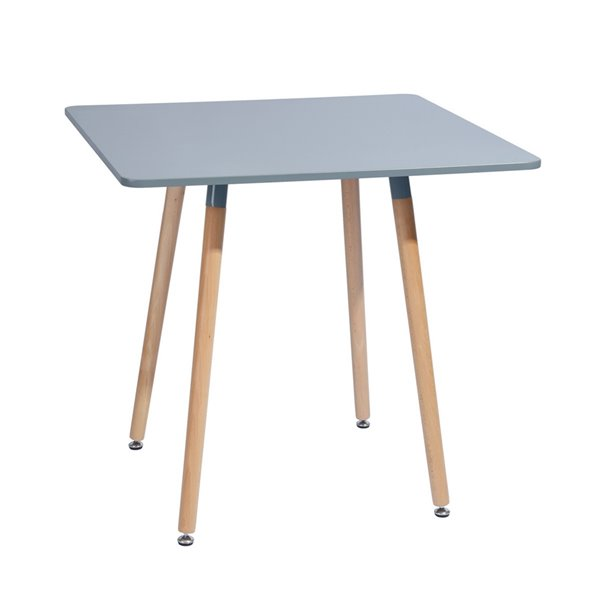 Table de salle à manger carrée fixe Rookie de taille standard (30po H) par FurnitureR, plateau en composite et base en chên