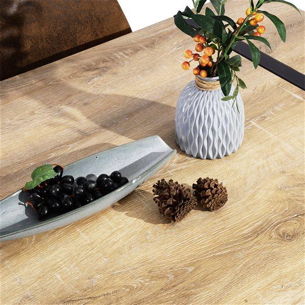 Table de salle à manger rectangulaire fixe Vexa standard (30po H) par FurnitureR, plateau en composite et base de métal noir