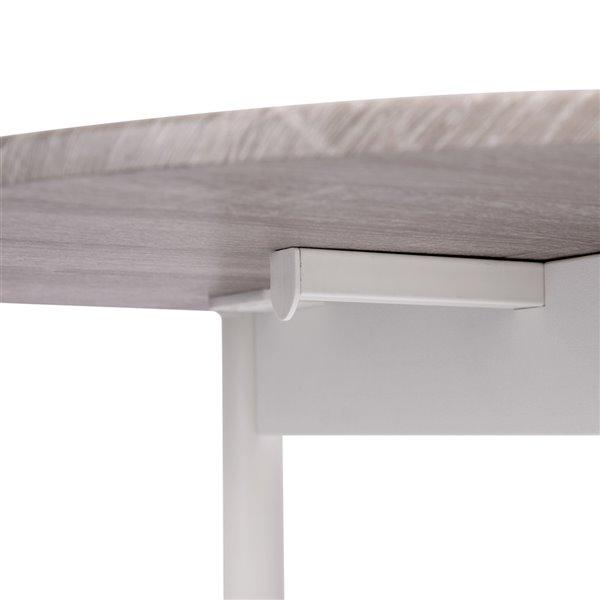 Table de salle à manger ovale extensible Deane standard (30po H) par FurnitureR, plateau en composite et base de métal blanc