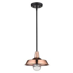 Luminaire Burry en cuivre suspendu incandescent moyen (10-22 po) en verre à bulles style «farmhouse» par Acclaim Lighting