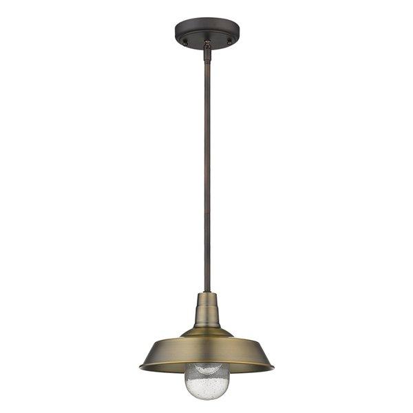 Luminaire Burry en laiton suspendu incandescent moyen (10-22 po) en verre à bulles style «farmhouse» par Acclaim Lighting