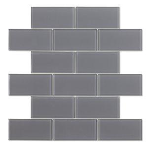 Échantillon de tuile autocollanteBrunello 2x plus rapide de 4po x 4po en verre par Speedtiles, gris