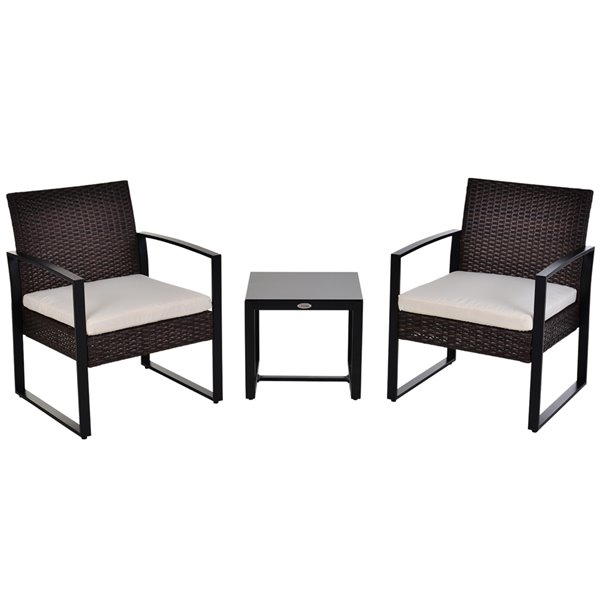 Outsunny 3 Piece Metal Frame And Wicker, 3 Piece Wicker Patio Conversation Set With Beige Cushions