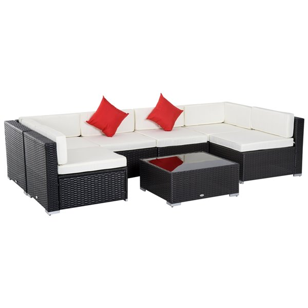 Outsunny 7-Piece Wicker Patio Conversation Set With Cushion(s) Included